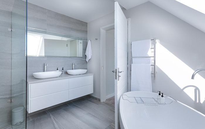 bathroom with pretty white walls and modern decor