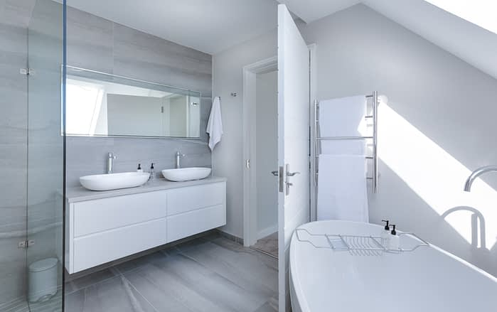 bathroom with pretty white walls and modern decor