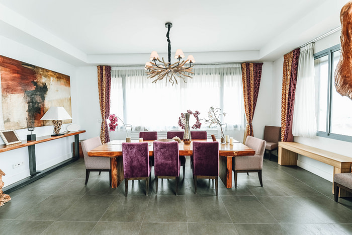 dining room area with white painted walls